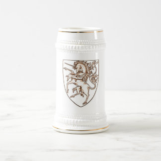 unicorn shield beer stein