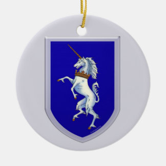 Unicorn Shield Gray Background Ceramic Ornament