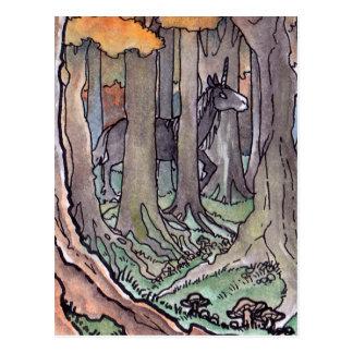 Unicorn Sighting Between the Trees Postcard
