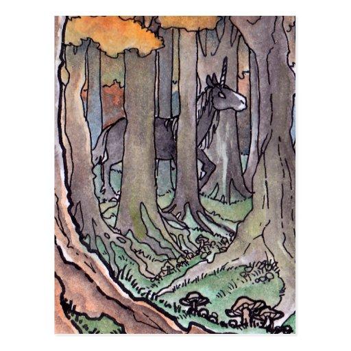 Unicorn Sighting Between The Trees Postcard Zazzle