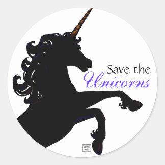 Unicorn Silhouette Classic Round Sticker