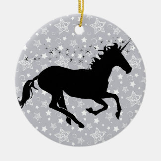 Unicorn Silhouette Double-Sided Ceramic Round Christmas Ornament