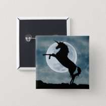 Unicorn Silhouette Full Moon Night Sky, ZKOA Button
