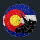 """Unicorn Silhouette Over The Colorado Flag Dartboard<br><div class=""""desc"""">This simple design shows off the Unicorn lover that also loves Colorado.</div>"""