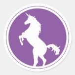 Unicorn Silhouette Purple Classic Round Sticker