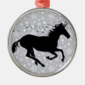 Unicorn Silhouette Round Metal Christmas Ornament