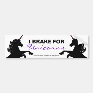 Unicorn Silhouettes I Brake for Unicorns Bumper Sticker