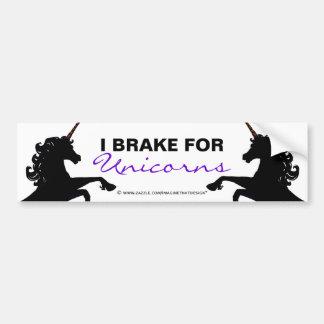 Unicorn Silhouettes I Brake for Unicorns Car Bumper Sticker