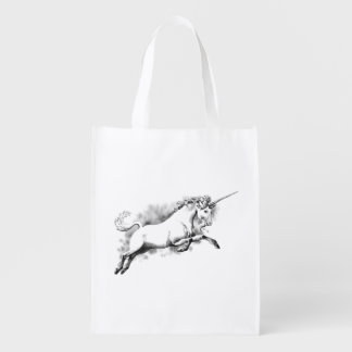 unicorn sketch fantasy art story trendy fashion reusable grocery bag