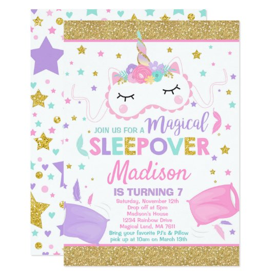 Unicorn Sleepover Party Invitation Slumber Party Zazzle Com