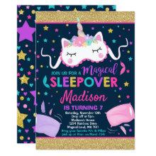 Unicorn Sleepover Party Invitation Slumber Party