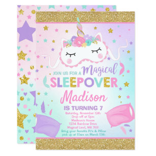 Unicorn Sleepover Party Invitation Slumber