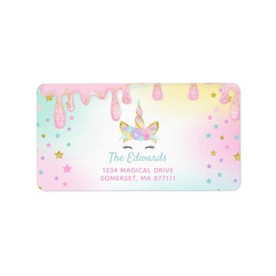 unicorn slime address labels unicorn slime party. Black Bedroom Furniture Sets. Home Design Ideas