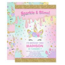 Unicorn Slime Birthday Invitation Slime Party