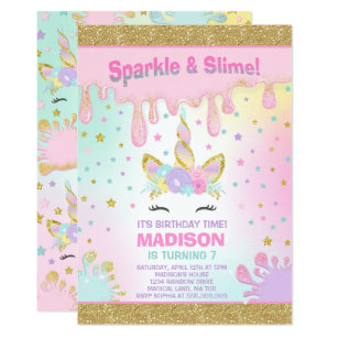 Unicorn Slime Birthday Invitation Party