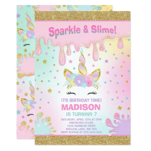 Unicorn Slime Birthday Invitation Slime Party