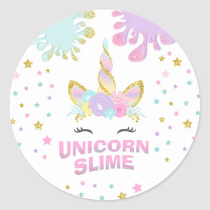 Unicorn Slime Party Favor Tag Sticker