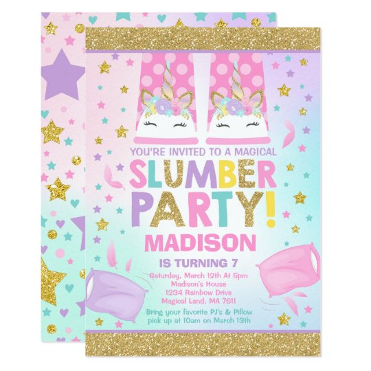 Unicorn Slumber Party Birthday Invitation Zazzle Com