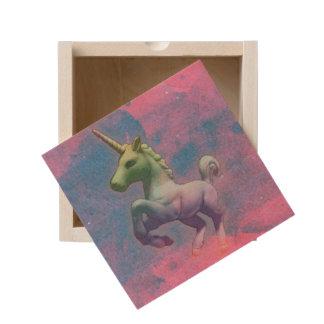 Unicorn Small Wood Keepsake Box (Cupcake Pink)