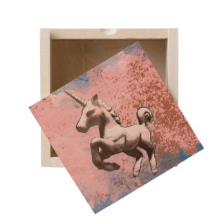Unicorn Small Wood Keepsake Box (Faded Sherbet)