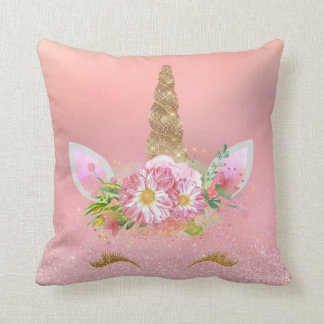 Unicorn Smiling Lashes Pink Rose Gold Glam Flowers Throw Pillow