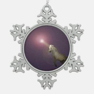 Unicorn Snowflake Pewter Christmas Ornament