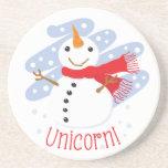 Unicorn Snowman Drink Coaster
