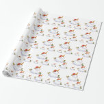 Unicorn Snowman Gift Wrap Paper