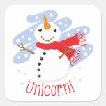 Unicorn Snowman Square Sticker