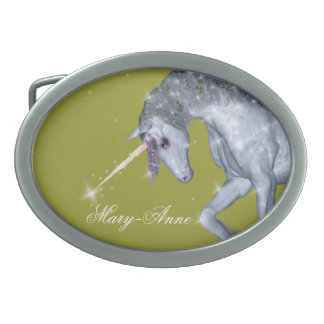 Unicorn Sparkles Oval Belt Buckle
