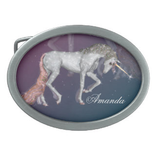 Unicorn Sparkles Oval Belt Buckles