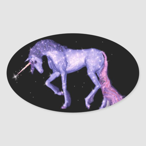 Unicorn Sparkles Oval Stickers