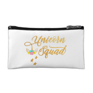 Unicorn Squad. Calligraphy, Floral Horse Face Cosmetic Bag