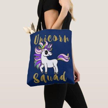 Aztec Themed Unicorn Squad, white kawaii Pony Tote Bag