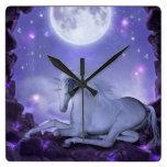unicorn square wall clocks