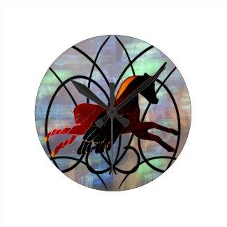 Unicorn Stained Glass Pegasus Fantasy CricketDiane Round Clock