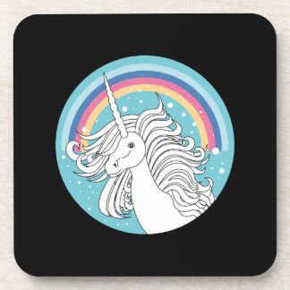 Unicorn surrounded by rainbow and dots black beverage coaster