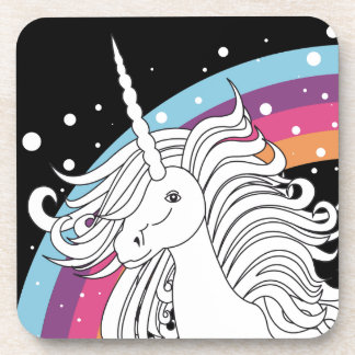 Unicorn surrounded by rainbow and dots black coaster