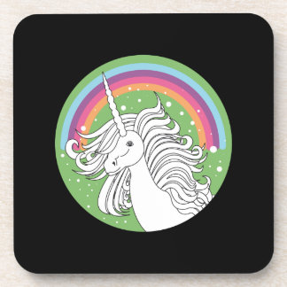Unicorn surrounded by rainbow and dots black drink coaster
