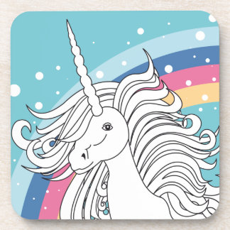 Unicorn surrounded by rainbow and dots blue beverage coaster