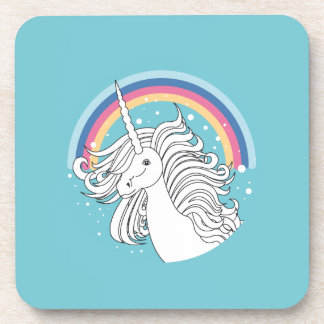Unicorn surrounded by rainbow and dots blue coaster