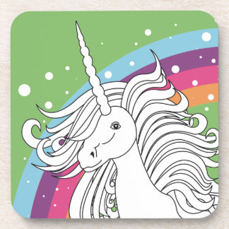 Unicorn surrounded by rainbow and dots green coaster