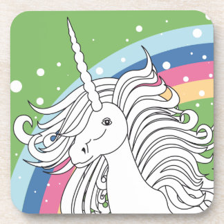 Unicorn surrounded by rainbow and dots green drink coaster