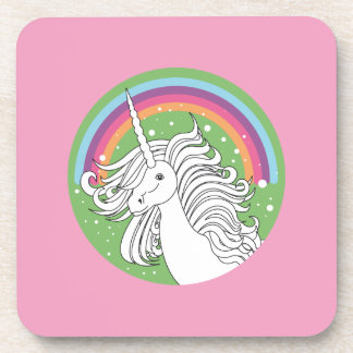 Unicorn surrounded by rainbow and dots pink beverage coaster