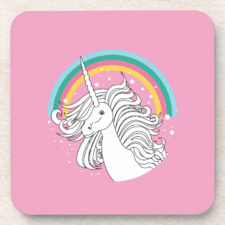 Unicorn surrounded by rainbow and dots pink coaster