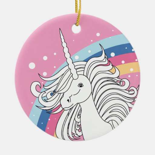 Unicorn surrounded by rainbow and dots pink Double-Sided ceramic round christmas ornament