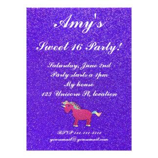 Unicorn sweet 16 invitations