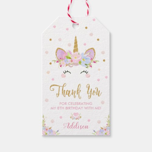 Unicorn Thank You Birthday Gift Favor Tags