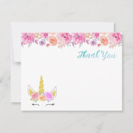 unicorn thank you card  zazzle