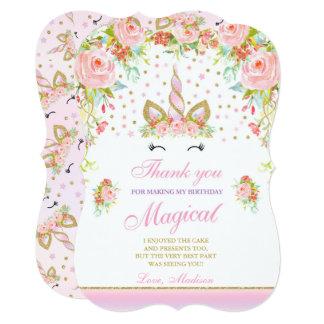 Unicorn Thank You Card Pink Gold Magical Unicorn